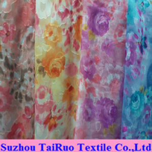 100% Polyester Jacquard Chiffon for Lady Dress Fabric pictures & photos