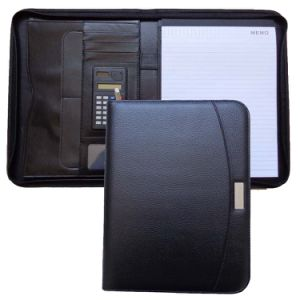 Business A4 Zipper PU Leather File Folder Padfolio with Plate pictures & photos