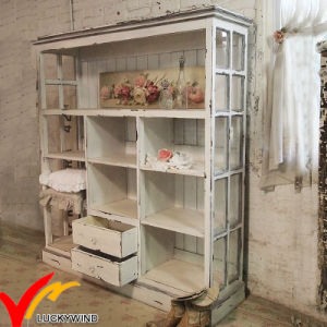White Glass Front Antique Vintage Wooden Display Cabinet pictures & photos