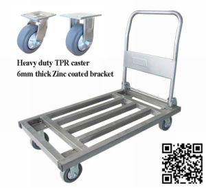 600kg Steel Tube Hand Trolley for Warehouse pictures & photos
