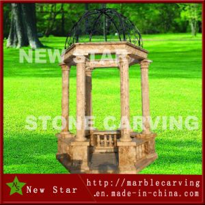 Yellow Marble Stone Gazebo with Steel Top pictures & photos
