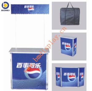 2015 Hotsales Aluminum Promotion Counter, Promotion Table, Promotion Desk with Top Bar