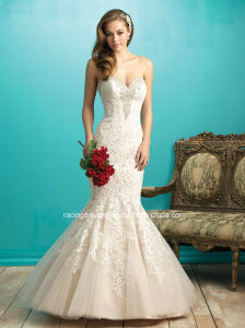 2016 Popular Mermaid Bridal Gown Backless Lace Wedding Dress pictures & photos