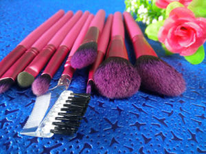 9 Pieces Rose Red Wood Handle Synthetic Hair Cosmetic Brush Makeup Brush pictures & photos