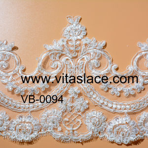1.4m Factory Bridal Lace Trim with Handmade Beads and Pearls Lace Trim in Lace for Decorative Vb-0094bc