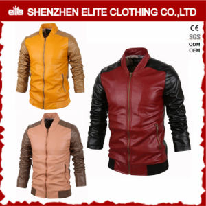 2017 Custom Made Men Black PU Leather Jacket pictures & photos