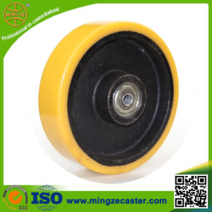 8 Inch Cast Iron Yellow PU Wheel pictures & photos