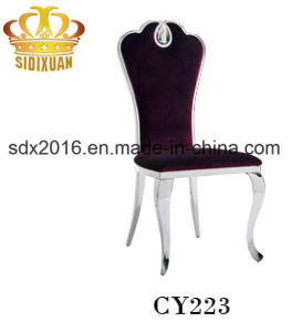 Elegant Furniture Wholesale Modern King Throne Wine Velvet Steel Banquet Dining Chair pictures & photos