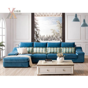 Blue Fabric Sofa with Chaise (801B)