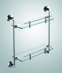 Brass Wall Hanging Bath Accessories Double Glass Shelf