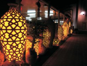 Outdoor LED Light Oval Garden Sandstone Resin Lantern pictures & photos