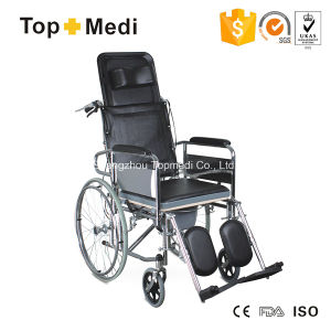 Topmedi High Back Reclining Steel Manual Commode Wheelchair pictures & photos