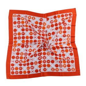 Custom Logo Scarf Printed Silk and Polyester Orange Polka Dots (LS-36) pictures & photos