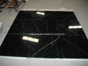 Floor and Wall Polished Nero Marquina Marble Tile pictures & photos