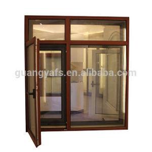 Aluminium Wood Grain Powder Coating Casement Door Window pictures & photos