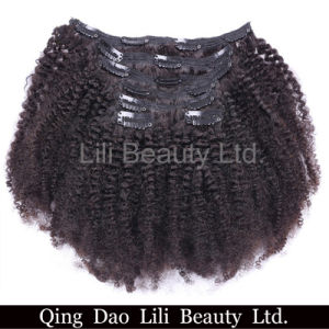 Cheap Wholesale 100% Virgin Brazilian Human Hair Afro Kinky Curly Clip in Hair Extensions pictures & photos