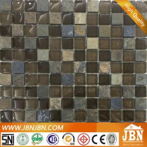 Bathroom Wall Dark Color Glass Tile with Stone (M823077) pictures & photos