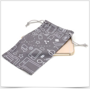Double-Side Drawstring Microfiber Mobile Phone Pouch pictures & photos
