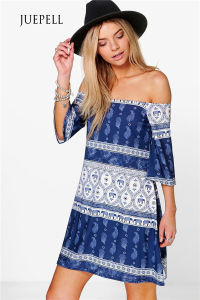 off Shoulder Boho Print Beach Women Dress pictures & photos