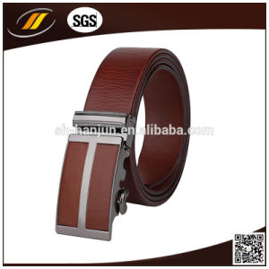 OEM High Quality Top Leather Black Automatic Buckle Belt Men′s Man Belt (HJ3102)