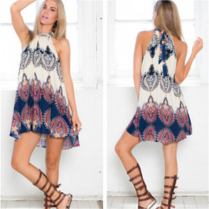 European and American Fashion Loose Printed Sleeveless Sexy Mini-Dresses pictures & photos