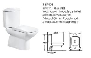 Washdown Two-Piece Ceramic Toilet (87008) pictures & photos