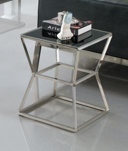 Modern Living Room Glass Top Stainless Steel Coffee End Table pictures & photos