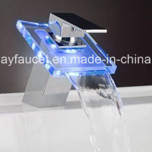 Brass Waterfall Glass LED Bathroom Water Faucet pictures & photos
