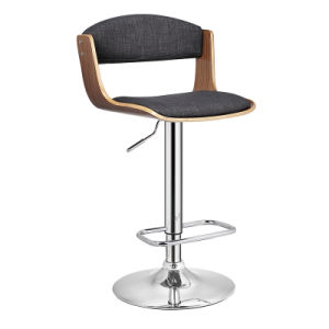 Bentwood Adjustable Height Bar Stool with Curved Black PU Seat and Back (FS-WB1956) pictures & photos