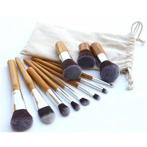 11 PCS Beauty Tools Durable Bamboo Handle Makeup Brush with Linen Bag pictures & photos