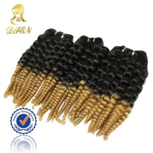 Two Tone Color Curly Remy Human Hair Weaving