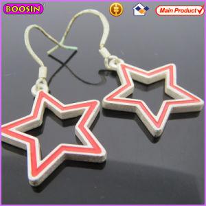 Boosin Matte Light Silver Star Shape Enamel Metal Earrings (21509) pictures & photos