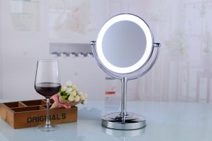 Battery Double Vision Professional Table LED Makeup CE Mirror pictures & photos