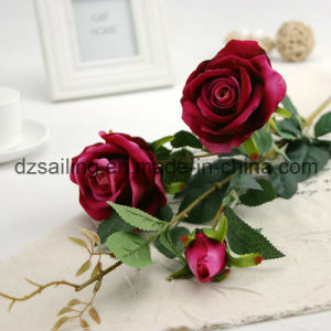 artificial Velvet Wedding Rose Flower for Decoration (SW03333) pictures & photos