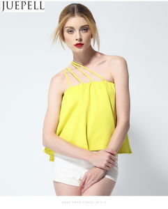 Summer Women Single Shoulder Strap Strapless Solid Color Loose Sleeveless Shirt 2016 New Sexy Tops pictures & photos