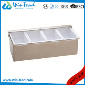 Stainless Steel Condiment Box Holder with PP Divider pictures & photos