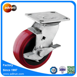 Heavy Duty Wheel Braked 5 Inch PU Wheel Casters pictures & photos