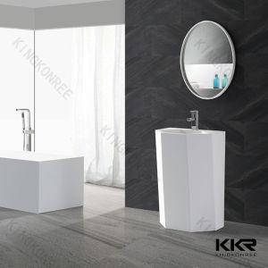 Round White Stone Resin Freestanding Basin (KKR-1387) pictures & photos