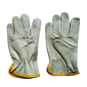 Pig Grain Leather Safety Machanic Driving Gloves pictures & photos