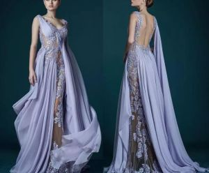 Lilac Backless Prom Dresses Lace Chiffon Evening Dresses P6440 pictures & photos