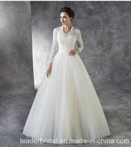 3/4 Sleeves Muslim Bridal Gowns Lace Tulle Country Garden Simple Wedding Dress Lb1825 pictures & photos