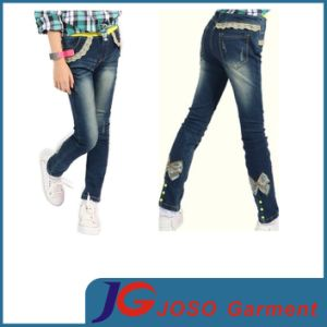 Girls Kids Long Lace Button Foot Pants (JC5199) pictures & photos