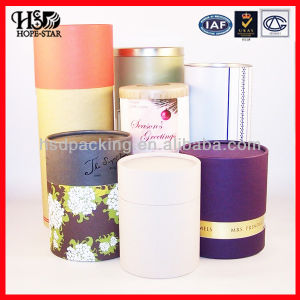 Chinese Tube Box with Pretty Paper (HSD-H3098)