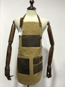 Custom Unisex Heavy Duty Utility Waxed Canvas Work Apron with Leather Strap pictures & photos