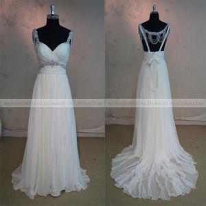 Beading Open Back Ivory Silk Chiffon Wedding Dress (M1312126)