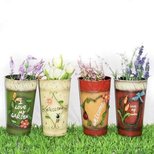 Garden Metal Flower Pot, 4 Styles
