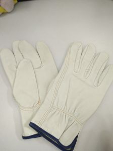 Goatskin Leather Wroking Safety Glove with Lining for Driving pictures & photos