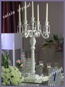 Unique White Crystal Candelabra for Wedding and Home Decoration