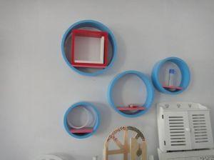 Round Shape MDF Wall Cube Shelf