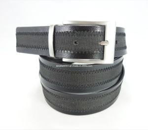 Classic Men′s Leather Belt with Reversible Buckle (EU4027-35)
